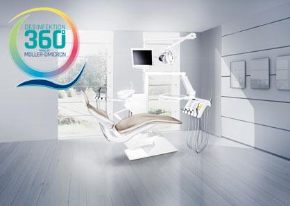 Behandlungsstuhl mit Desinfektion 360° Logo