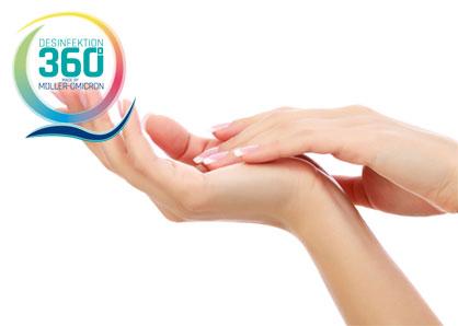 Hände mit Desinfektion 360° Logo