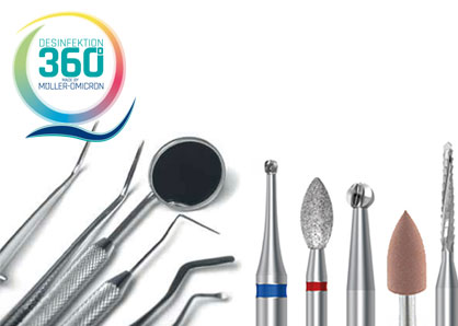 Zahnärztliche Instrumente mit Desinfektion 360° Logo